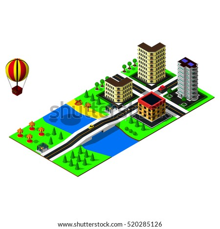 3d map. Isometric landscape. Map includes beach, river, bridge, car, markings, buildings, bus stop and hot air balloon. Isometric city icon.