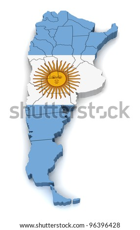 3D Map of Argentina - stock photo
