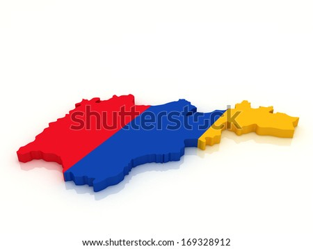 3d map of Armenia in national flag colors  - stock photo
