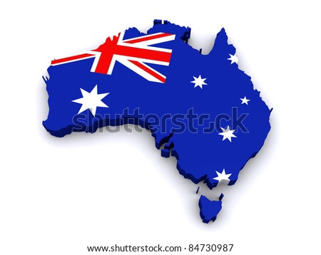 3d map of Australia - stock photo