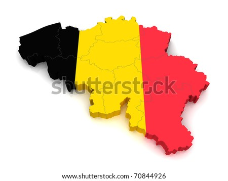 3d Map Of Belgium - stock photo