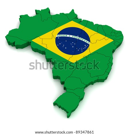 3D Map of Brazil - stock photo