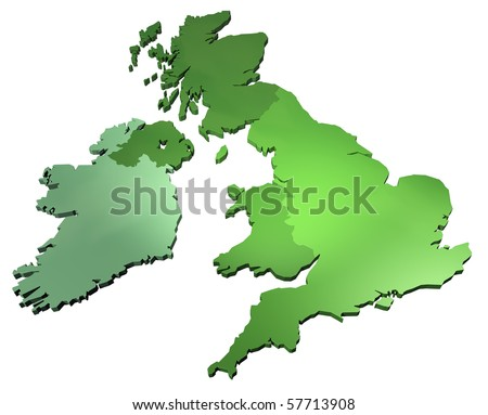 3D map of British isles isolated on white background - stock photo