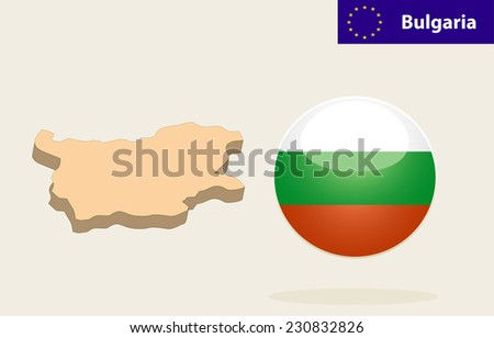 3D Map of Bulgaria. Bulgaria Flag Glossy Button - stock photo