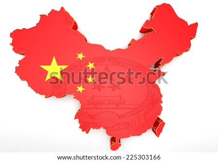 3D map of China in Chinese flag colors.
