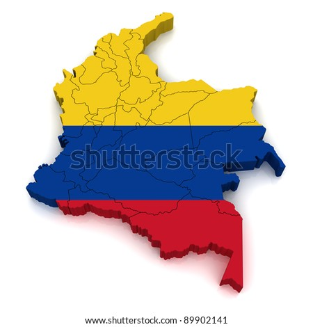 3D Map of Colombia - stock photo