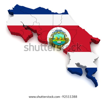 3D Map of Costa Rica - stock photo
