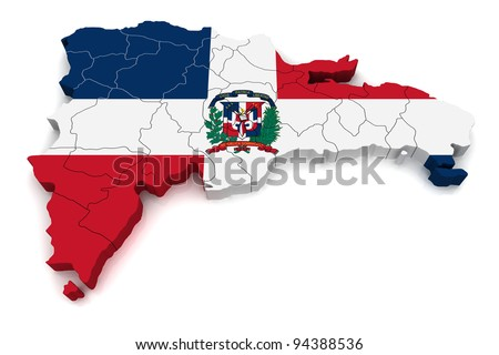 3D Map of Dominican Republic - stock photo