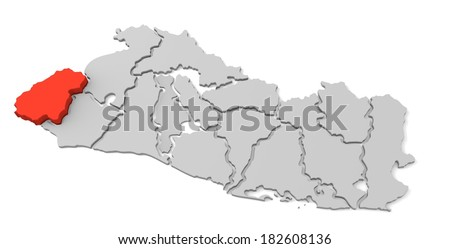 3d map of el salvador, with the separate departments, especially in ahuachapan, states, infographic