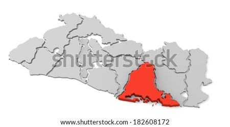 3d map of el salvador, with the separate departments, especially in usulutan, states, infographic  - stock photo