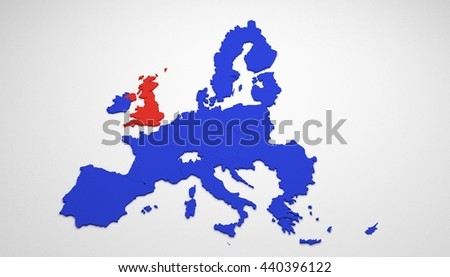 3D map of Europe with just European Union (EU) members and Great Britain / United Kingdom (UK) colored in red. Brexit - 3D render.
