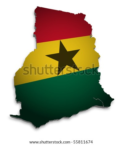 3D Map of Ghana with flag - stock photo