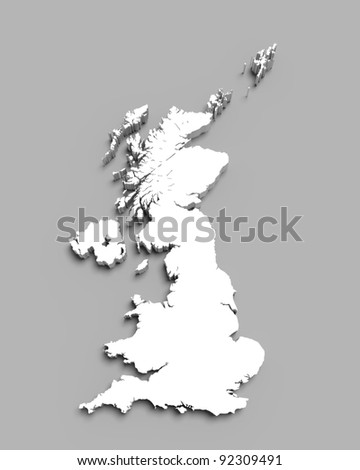 3D map of Great Britain on gray isolated - stock photo