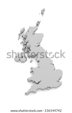 3D map of Great Britain on white isolated - stock photo