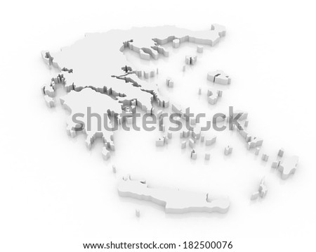 3D map of Greece on white background - stock photo