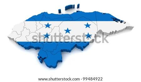 3D Map of Honduras - stock photo