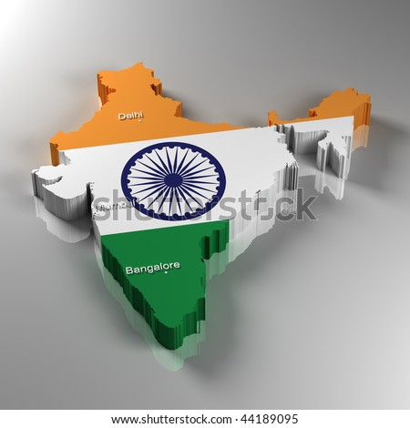 3D Map of India with the three most important cities - stock photo