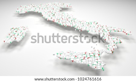 3D Map of Italy - Europe | 3d Rendering, mosaic of little bricks - White and flag colors