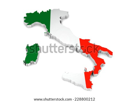3D map of Italy on a simple background with high-resolution