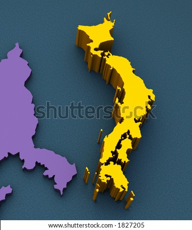 3D Map of Japan - stock photo