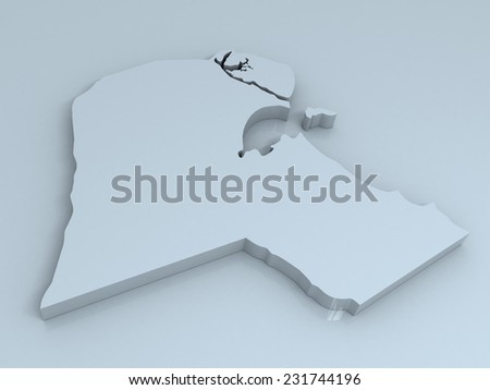 3D map of kuwait on a simple background with high-resolution - stock photo