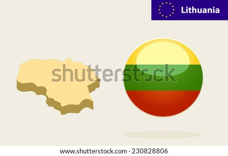 3D Map of Lithuania.Vector - Lithuania Flag Glossy Button - stock photo