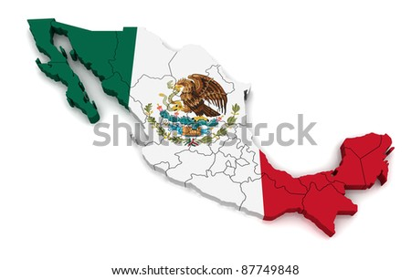 3D Map of Mexico - stock photo