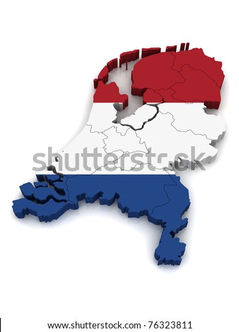 3D Map of Netherlands - stock photo