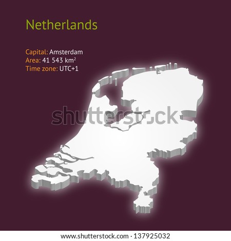 3d map of Netherlands isolated on purple background (raster illustration)