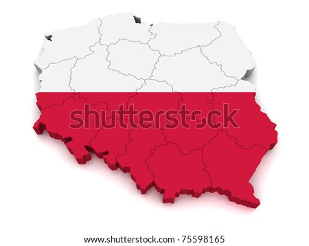 3D Map of Poland - stock photo
