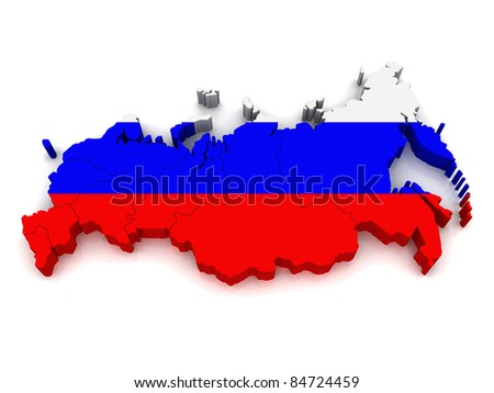 3D Map of Russia - stock photo