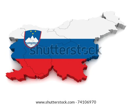 3D Map of Slovenia - stock photo