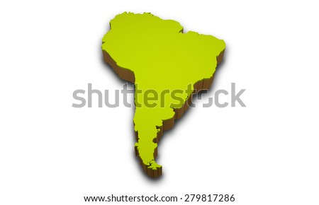 3D map of South America continent isolated on white background - stock photo