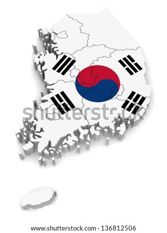 3D Map of South Korea - stock photo