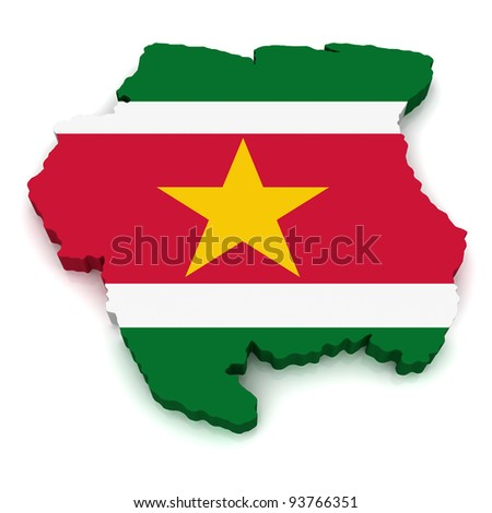 3D Map of Suriname - stock photo