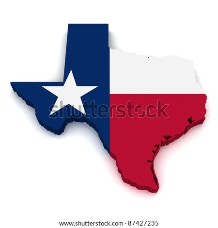 3D Map of Texas - stock photo