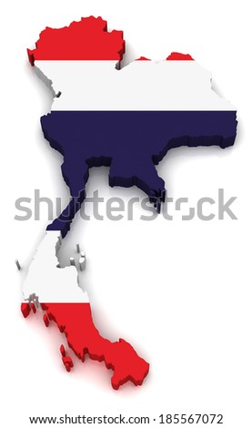 3D map of Thailand - stock photo