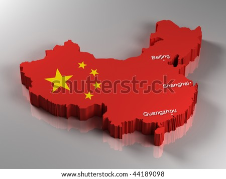 3D Map of the People's Republic of China with the three most important cities - stock photo