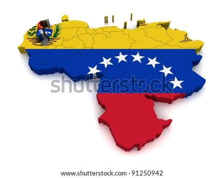 3D Map of Venezuela - stock photo