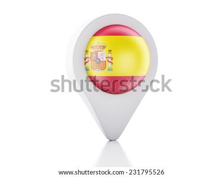 3d Map pointer spain flag icon on white background - stock photo