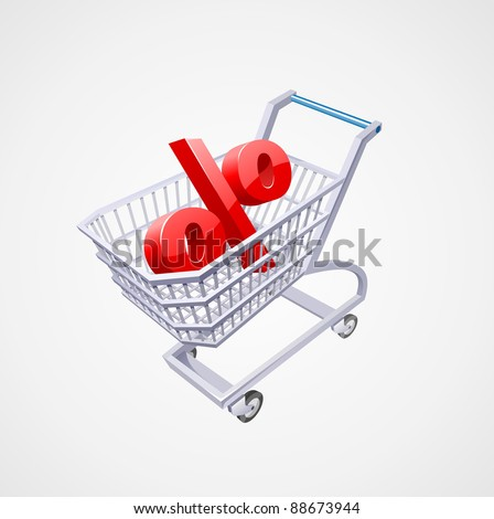 3-d Market cart with  percent sign inside it - stock photo
