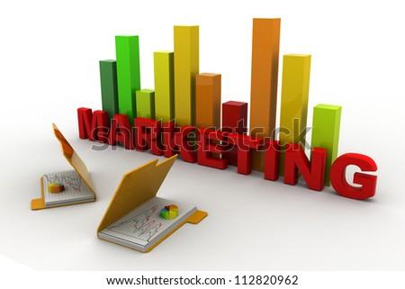 3d Marketing graph and folder - stock photo