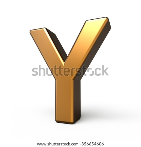 3d matte gold letter Y isolated on white background