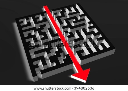 3D maze/ labyrinth concept - solution. - stock photo