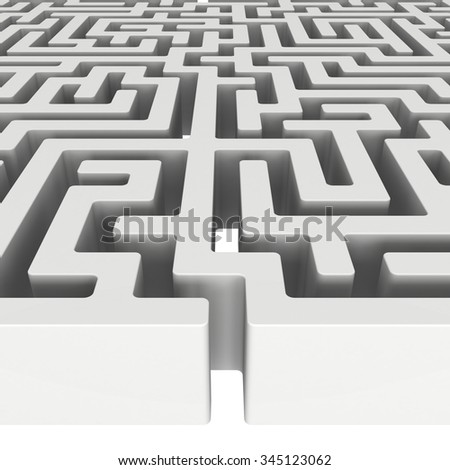 3D Maze. Labyrinth shape design element. One entrance, one exit and one right way to go. But many paths to deadlock. Unique design element abstract render maze isolated on white background.