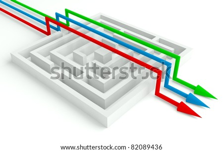 3d Maze Solved by Workgroup, Smart Solution - stock photo