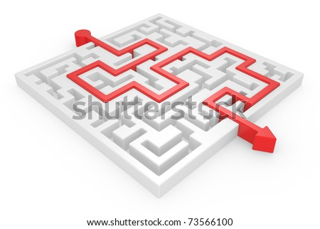 3D Maze with red arrow on a white background