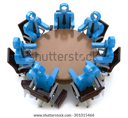 3d meeting business people - session behind a round table  - stock photo