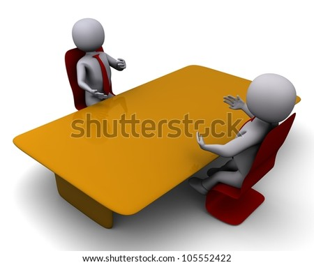 3d meeting on white isolated background - stock photo