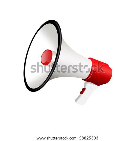 3D megaphone isolated on a white background - stock photo